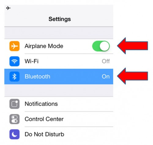 To disconnect your iPad or iPhone from the cellular network while still receiving GPS position and other information from an external receiver, put your tablet into the 'Airplane Mode' and then engage either the Bluetooth function or the Wi-Fi network (e.g. for Stratus II) under the 'Settings' menu.