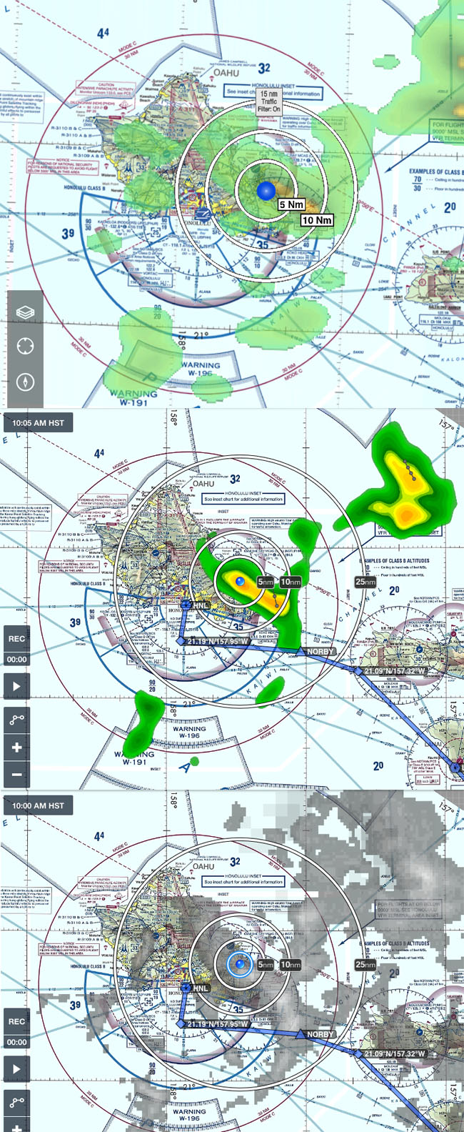 Comparison of Weather radar display by FlyQ EFB (top) ForeFlight (center) and satellite image downloaded by ForeFlight (bottom).