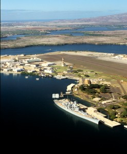 Ford Island with USS Missouri, Pearl Harbor