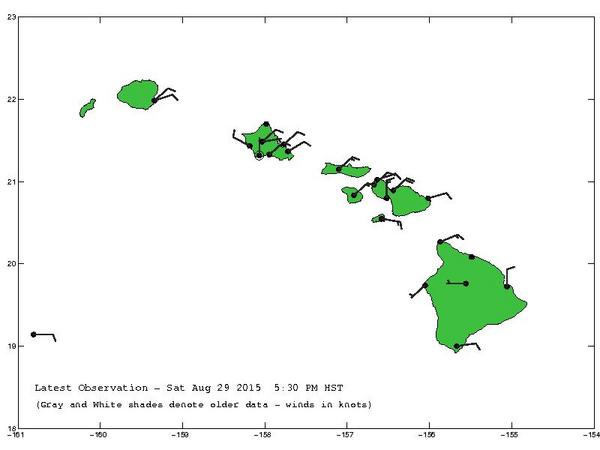 Typical trade wind conditions in the Hawaiian islands. Deviations from the expected north-easterly wind flow pattern can be observed in the lee of the tall islands, e.g. Kona (KOA) on the west side of the Big Island. Real-time data can be found here: http://weather.hawaii.edu/current/hawwx.cgi?banner=uhmet