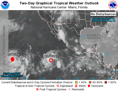 Tropical storms emanating from the Inter-Tropical Convergence Zone during the summer season of 2015. Depression Thirteen-E would develop into hurricane Jimena within two days . Source: NWS CENTRAL PACIFIC HURRICANE CENTER HONOLULU.