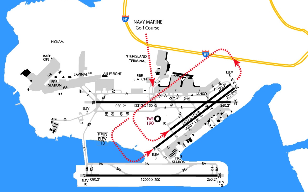 """VFR traffic pattern entry for runways 4L and 4R from the """"Navy Marine Golf Course"""" and the """"Interisland Terminal"""". Note the location of the Control Tower and Taxiway Delta as visual cues to planning the downwind leg. The downwind leg must cross runway 8L at taxiways G/L. Maintain pattern altitude while overflying runway 8L and avoid overflying the 'Reef Runway' 8R. For illustration purposes only, not to be used for navigation. Always check the most recent AF/D for procedural updates."""