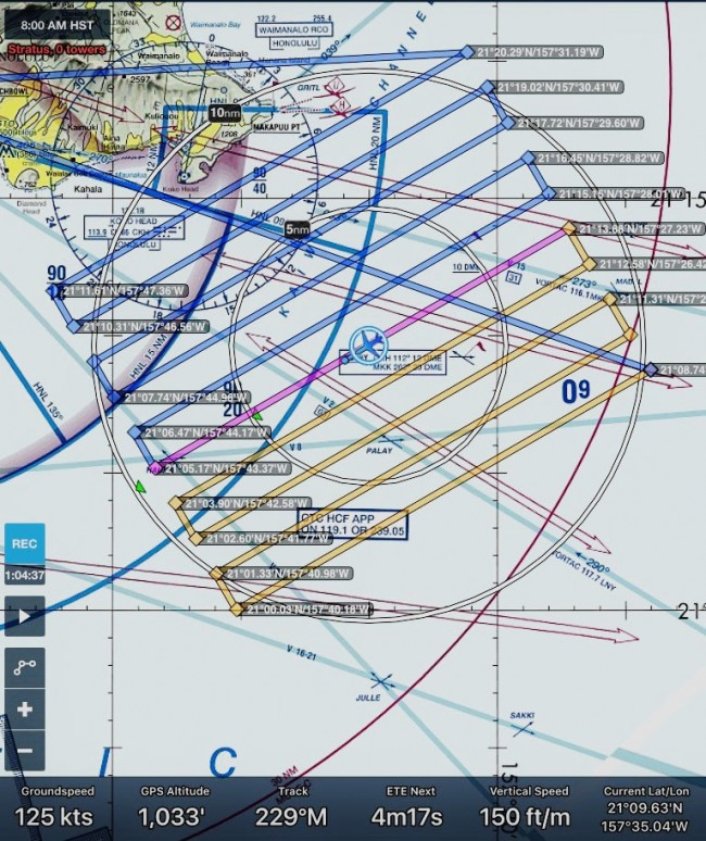 ForeFlight parallel search pattern during flight