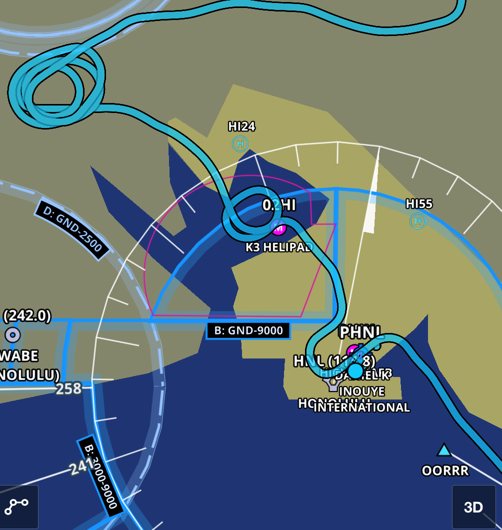 Holding pattern over the H1/H2 interchange